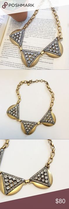 """J. Crew • Crystal Triangles Necklace PRODUCT DETAILS Crystal-studded metal with an architectural Art Deco vibe. Like new condition - no flaws.   Glass, brass, zinc. Light gold plating. SIZE & FIT Length: 15"""" with a 2 1/4"""" extender chain for adjustable length. J. Crew Jewelry Necklaces"""
