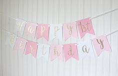 Gold, Pink, White, Ombre, Happy Birthday Banner/ Girl Birthday/ Princess Party/ Party Decorations/ Custom Name/ Personalized by BannerBakery on Etsy https://www.etsy.com/listing/473102750/gold-pink-white-ombre-happy-birthday