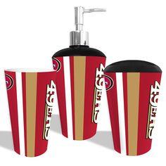 """San Francisco 49ers NFL Bath Tumbler, Toothbrush Holder & Soap Pump (3pc Set)"""