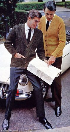 These men are pictured in a publicity shot in 1966 (left) wearing shirts, ties and knitted...