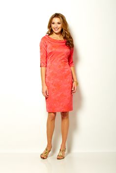 Sara Campbell 3/4 sleeve dress with rolled collar in floral jacquard stretch