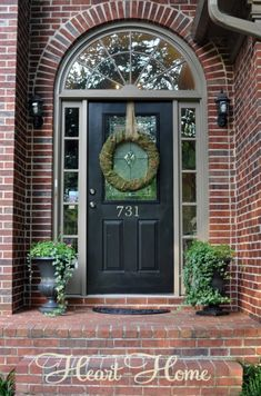 68 ideas arched front door entryway bricks for 2019 Front Door Paint Colors, Painted Front Doors, Front Door Design, Exterior Paint Colors, Exterior House Colors, Exterior Doors, Exterior Design, Arched Front Door, Victorian Front Doors