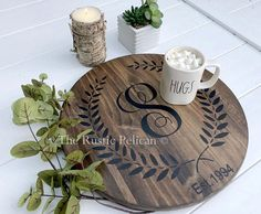 Solid Wood Wine Barrel Personalized Gifts Lazy Susan HAND