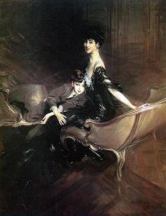 """Giovanni Boldini (1842-1931)  """"Consuelo Vanderbilt, Duchessa di Malborough, con suo figlio Ivor Spencer-Churchill"""" 1906"""