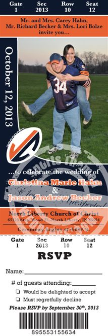 Football theme wedding invitationsave the by announcementsplus personalized wedding ticket invitation featuring a photo of you football wedding invitation junglespirit