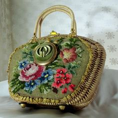 Haute Couture Purse, Vintage embroidered basket  purse with vintage compact mirror, One of a Kind Fabulous. $237.00, via Etsy.