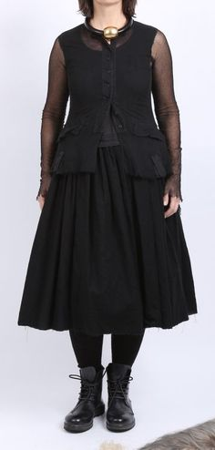 rundholz - Kleid Tellerform Wool Cotton black