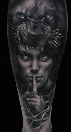Resultado de imagem para tattoo face girl and lion - Tattoo Ideas Wolf Tattoos, Animal Tattoos, Forearm Tattoos, Girl Tattoos, Tattoos For Guys, Maori Tattoos, Tatoos, Tattoos Bras, Body Art Tattoos
