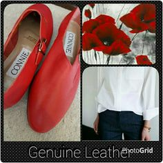*HP* Connie Leather Moccasins These are a bright red all leather moccasin with black rubber sole. They are new never worn. They feature a gold side buckle. Super cute and well made shoe. Please ask any questions. Thanks for looking. Shoes Moccasins