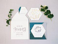 teal blue wedding invitations - photo by Shelley K Photography http://ruffledblog.com/modern-geo-wedding-inspiration