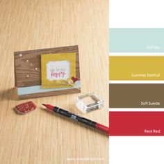Soft Sky, Summer Starfruit, Soft Suede, Real Red #stampinupcolorcombos