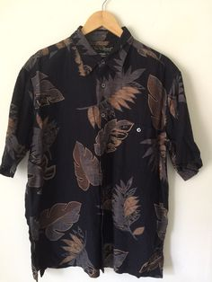 7d7ec1eee Tori Richard Men's 100% Silk Button Down Shirt Hawaiian Aloha Print Black  Size L