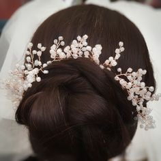 Excited to share this item from my shop: Wedding Hair Vine Ballet Hairstyles, Wedding Hairstyles, Cool Hairstyles, Vine Girls, Bun Wrap, Flower Crown Hairstyle, Gypsophila, Romantic Look, Hair Vine