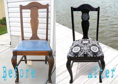 Trendy repurposed furniture before and after diy chair makeover Ideas Decor, Redo Furniture, Diy Furniture, Painted Furniture, Refurbished Chairs, Chairs Repurposed, Diy Chair Makeover, Repurposed Furniture, Vintage Chairs