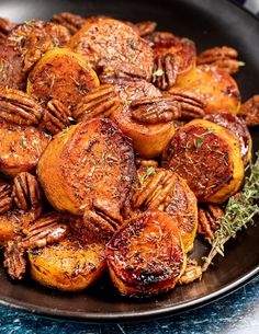 Melting Cinnamon Roasted Sweet Potatoes - Golden, caramelized and sticky, these Melting Cinnamon Roasted Sweet Potatoes with hints of thyme are a fantastic side dish to serve with your holiday feast or Sunday roast. Vegetarian Recipes, Cooking Recipes, Healthy Recipes, Vegan Recipes Potatoes, Cooking Ideas, Potato Sides, Sweet Potato Side Dish, Sunday Roast, Roast Dinner