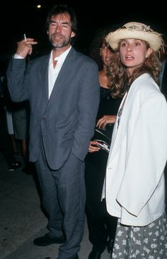Timothy Dalton and actress Maryam d'Abo attending the screening of The Commitments on August 7 1991 at Cinerama Dome Theater.