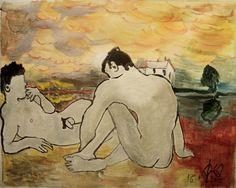 CG-014 - Smoking - L'aube par/by Cyril Georget ( 40 wide x 29 cm tall ~ 11.75 x 16.25 ) - No 09 de la série Les hommes libres - print 2 of 100 - 01-16-2012