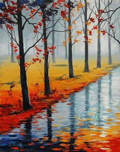 Wat autumn road - Beautiful Landscape Paintings by Graham Gercken Autumn Painting, Autumn Art, Diy Painting, Autumn Trees, Beautiful Landscape Paintings, Watercolor Landscape, Watercolor Paintings, River Painting, Impressionist Artists
