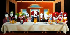 "Creepy Clowns 55 Pop Culture Parodies Of ""The Last Supper"" Gruseliger Clown, Joker Clown, Creepy Clown, Clown Meme, Clown Posse, Insane Clown, Last Supper Art, Send In The Clowns, Clowning Around"