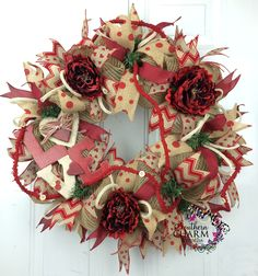 Burlap Mesh Valentine's Day Wreath -Rustic Valentines Decor -Love Sign - Valentines Door Wreath -Heart Ribbon Wreath by www.southerncharmwreaths.com #rustic #valentines #wreath