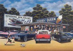 Dairy Queen & Coke Vintage Diner, Vintage Coke, Vintage Advertising Posters, Vintage Advertisements, Pin Up Girls, Pinup, Landscape Pencil Drawings, Nostalgic Art, Trucks And Girls