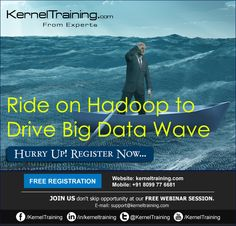 Big data solutions can be provided by the #Hadoop software framework and companies are hosting Apache Hadoop in their work environment steadily. You can learn in detail about Hadoop by attending a free #webinar class. Hurry up! Register www.kerneltraining.com a specialist in online training courses for IT professionals. Register at http://bit.ly/1DrdJkv