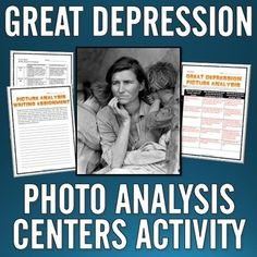 "Great Depression - Photo Analysis Centers Activity and Writing Assignment - This 17 page/slide Great Depression resource is a photo analysis that uses a ""centers"" activity format with five different photos/centers related to the Great Depression. This excellent resource includes five different and powerful photos related to life during the Great Depression that can be used in the five different centers for use in the classroom."