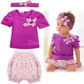 3Pcs Baby Girl Short Top T-shirt+ Pants+ Headband Set Clothing 0-36M