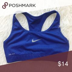 Nike Dri-fit Cobalt Blue Sports Bra Excellent used condition. A little wear on logo. Has been washed and is clean. Size small. Nike Intimates & Sleepwear Bras