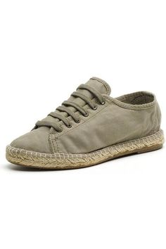 Womens cotton espadrilles with laces - Based on the classic Spanish espadrille but with laces. Organic cotton uppers and rope sole with natural rubber on the outer sole.