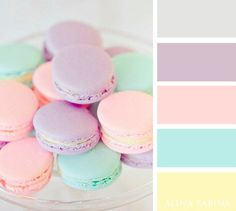 Soothing pastel colors for bedrooms, powder rooms, nurseries, or summer homes. Pretty colors for your home. Color Schemes Colour Palettes, Pastel Colour Palette, Room Color Schemes, Colour Pallette, Color Palate, Pastel Colors, Color Combos, Purple Color Schemes, Pastel Girls Room