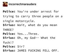 Picture memes — iFunny - m incorrectmarauders Police: You're under arrest for trying to carry three people on a single mot - Harry Potter Puns, Harry Potter Marauders, Harry Potter Universal, Harry Potter World, The Marauders, James Sirius Potter, Remus And Sirius, Sirius Black, Drarry
