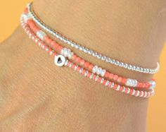 Tiny pearls and tangerine color beads bracelet - Sterling silver clasp Seed Bead Bracelets, Seed Bead Jewelry, Bead Jewellery, Ankle Bracelets, Beaded Jewelry, Jewelry Bracelets, Jewelery, Handmade Jewelry, Necklaces