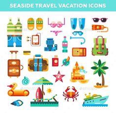 Set Of Flat Design Seaside Travel Vacation Icons