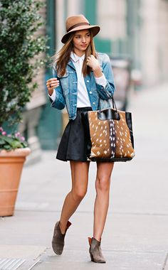 Hat, denim jacket, flared mini, tote and ankle boots.  We love!