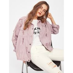 Rips Detail Boyfriend Denim Jacket (875 THB) ❤ liked on Polyvore featuring outerwear, jackets, pink, denim jacket, collar jacket, pink jacket, pink boyfriend jacket and distressed jacket