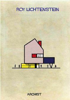 Archist by federico babina #illustration #lichtenstein #architecture