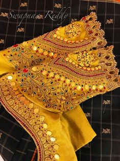 Latest Jeweled Blouse designs for 2019 Cutwork Blouse Designs, Wedding Saree Blouse Designs, Pattu Saree Blouse Designs, Stylish Blouse Design, Fancy Blouse Designs, Blouse Neck Designs, Wedding Sarees, Blouse Styles, Wedding Blouses