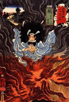 「犬山道節忠与」歌川国芳 南総里見八犬伝の登場人物で八犬士の一人。 火遁の術を使いこなす。