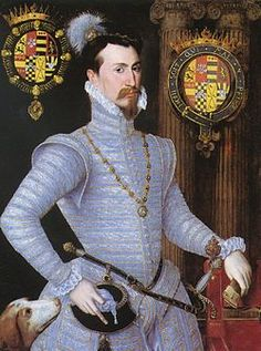 "Robert Dudley---Elizabeth's great love--her beloved ""Robin."" When he died, she locked herself away until her minister Lord Burghley had the door broken open. He had written her six days before he died. She kept that letter in a treasure box by her bedside, with the inscription ""his last letter."" It was there when she herself died fifteen years later."
