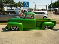 Perfect Color Lemon Lime (I like this for my truck) Bagged Trucks, Lowered Trucks, Hot Rod Trucks, Mini Trucks, Gmc Trucks, Cool Trucks, Pickup Trucks, Lifted Trucks, 54 Chevy Truck