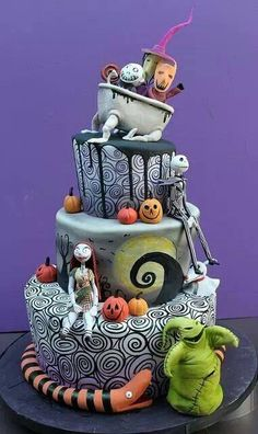 Tim Burton's birthday cake...all characters from his imagination! Creative baker, and decorator!!