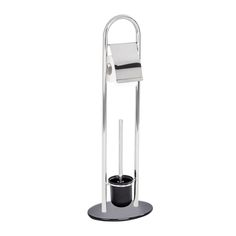 Die Bürstengarnitur Atlanta ist eine Kombination aus Toilettenpapier-Rollenhalter und WC-Bürstenhalter. Das Gestell ist aus rostfreien Edelstahl, der schwere Standfuß aus schwarzen Sicherheitsglas sorgt für einen sicheren Halt. Der WC-Bürstenbehälter ist aus Kunststoff. Gesehen für € 29,99 bei kloundco.de.