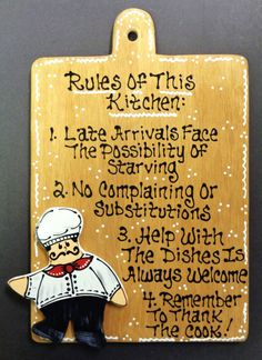 Stained Sign Fat Chef Overlay Rules Of This Kitchen Plaque Wall Bistro Cucina Designedhandcraftedbymillerfamilywoodcrafts