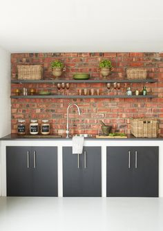 exposed bricks and open shelves