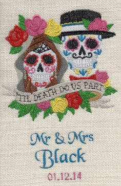 Burlap sugar skulls custom wedding art, wedding gift, valentines, embroidered wall art, decor, gifts for her, anniversary, - pinned by pin4etsy.com