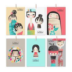 Set de 6 postales para escribir notas de agradecimiento o mensajes de amor.  Medidas: 10 x 15cm Papel 300 gr.