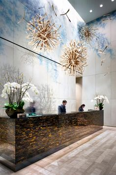 Reception area of Four Seasons Toronto. Design by Yabu Pushelberg. Photographed by Brandon Barré. Plants, Painting, Garden, Art, Kunst, Gardens, Plant, Gcse Art, Gardening