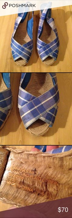 EUC Lauren by Ralph Lauren Espadrilles Blue plaid sling back espadrilles with a low heel rise. Great condition, except the bottom has marker on it that can't be removed and a few wild strands . 9.5 B Lauren Ralph Lauren Shoes Espadrilles
