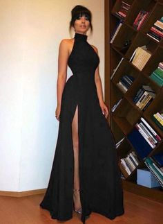 High Neck black Long Prom Dress Sexy High Split Women Evening Party Formal dresses Stand Collar Black Long Evening Dress Sexy High Split Ladies Evening Party Evening Dresses on Storenvy Pretty Dresses, Sexy Dresses, Beautiful Dresses, Fashion Dresses, Dress Long, Summer Dresses, Womens Formal Dresses, Prom Dresses Black Long, Formal Gowns